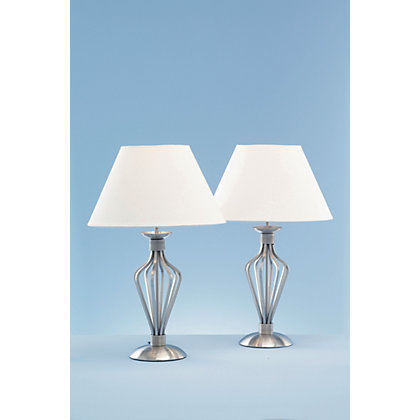 Image for Cage Table Lamp - Satin Nickel Effect - 47cm from StoreName
