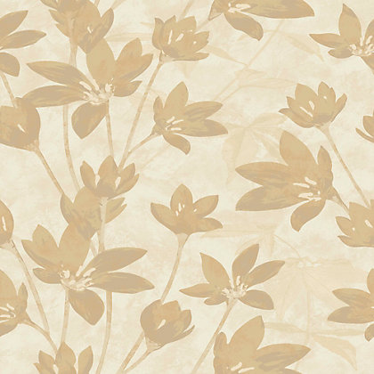 Image for Nature Luxury Gold Flower on Light Beige Wallpaper from StoreName