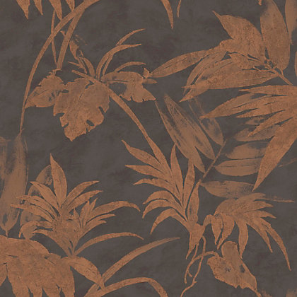 Image for Nature Luxury Copper Tropical Leaves Wallpaper from StoreName