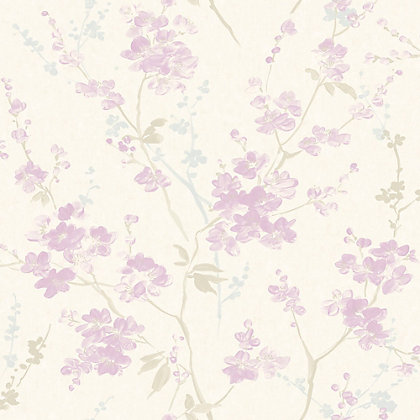 Image for Pastel Florals Lilac Branch Wallpaper from StoreName