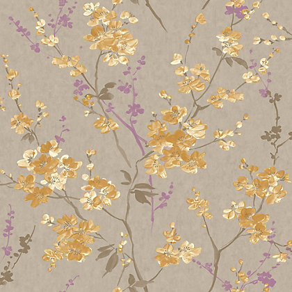 Image for Pastel Florals Yellow Blossom Wallpaper from StoreName