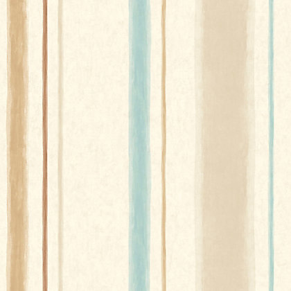 Image for Pastel Florals Aqua & Brown Stripe Wallpaper from StoreName