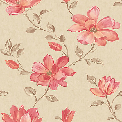Image for Pastel Florals Red Flower Wallpaper from StoreName