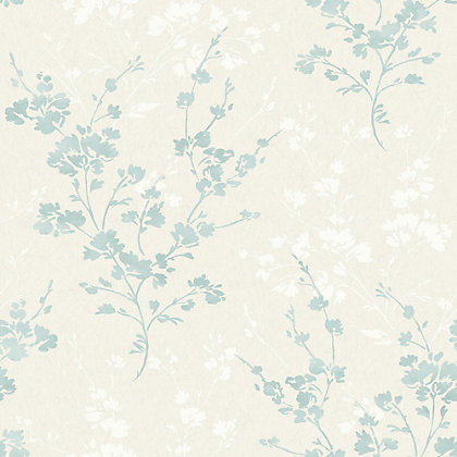 Image for Gran Deco Velvet Blue Flowers Wallpaper from StoreName