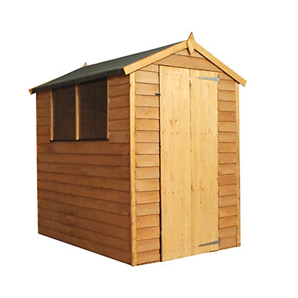 Image for Mercia Light Brown Overlap Apex Wooden Shed (Single Door) - 6x4ft from StoreName