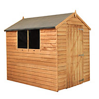 Mercia Light Brown Overlap Apex Wooden Shed (Single Door) - 7x5ft