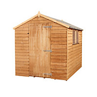 Mercia Light Brown Overlap Apex Wooden Shed (Single Door) - 8x6ft