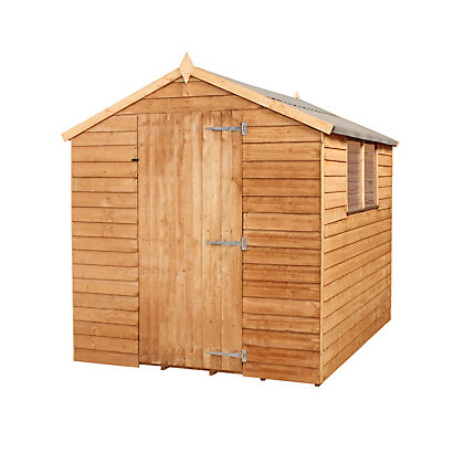 Image for Mercia Light Brown Overlap Apex Wooden Shed (Single Door) - 8x6ft from StoreName