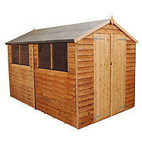 Mercia Light Brown Overlap Apex Wooden Shed (Double Doors) - 10x6ft