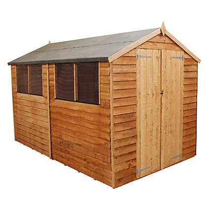 Image for Mercia Light Brown Overlap Apex Wooden Shed (Double Doors) - 10x8ft from StoreName