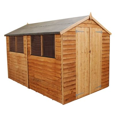 Mercia Light Brown Overlap Apex Wooden Shed (Double Doors) - 12x8ft