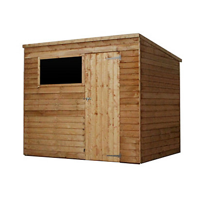 Image for Mercia Light Brown Overlap Pent Wooden Shed - 8x6ft from StoreName