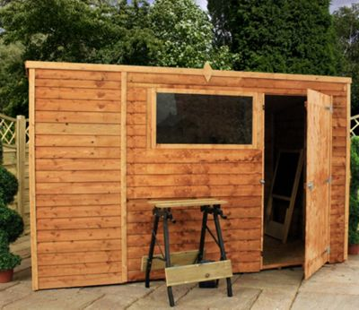 Mercia Light Brown Overlap Pent Wooden Shed - 10x6ft