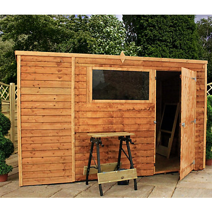 Image for Mercia Light Brown Overlap Pent Wooden Shed - 10x6ft from StoreName