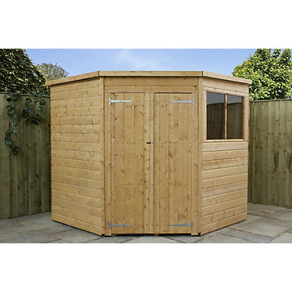 Image for Mercia Shiplap Corner Wooden Shed - 7x7ft from StoreName
