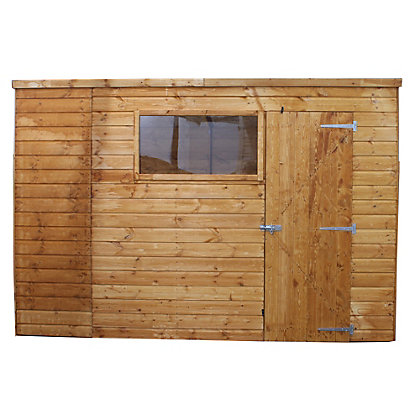 Image for Mercia Light Brown Shiplap Pent Wooden Shed - 8x6ft from StoreName