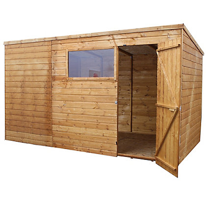 Image for Mercia Light Brown Shiplap Pent Wooden Shed - 10x8ft from StoreName