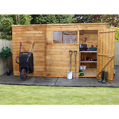 Image for Mercia Light Brown Shiplap Pent Wooden Shed - 12x8ft from StoreName