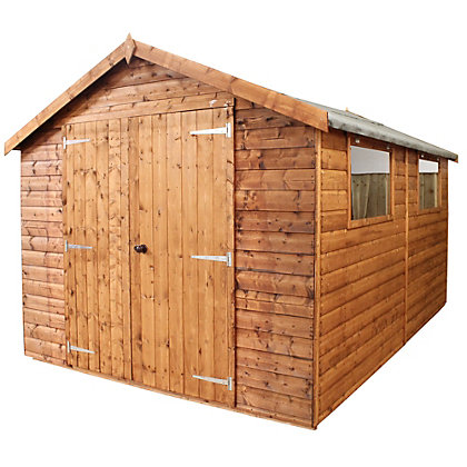 Image for Mercia Premium Shiplap Apex Wooden Shed - 12x8ft from StoreName