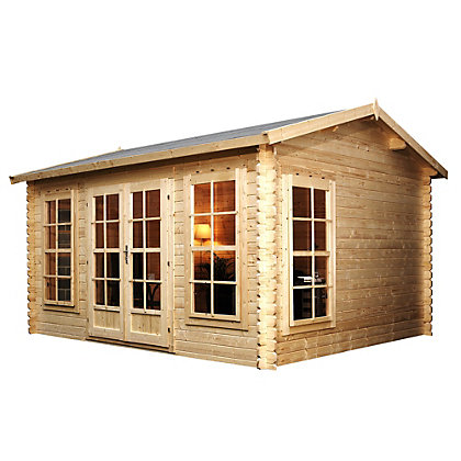 Image for Mercia Wooden Sun house Log Cabin - 13ft 10in x 10ft 6in from StoreName