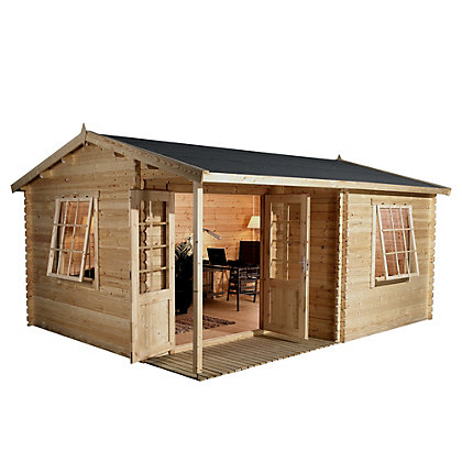 Image for Mercia 34mm Garden Office Log Cabin - 13ft 9in x 11ft 8in from StoreName