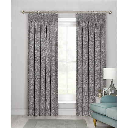 Image for Schreiber Serena Dove Grey Lined Jacquard Curtains - 90 x 90in from StoreName