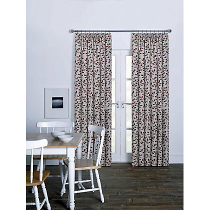 Image for Olive Leaf Jacquard Pencil Pleat Curtains - 66 x 54in from StoreName