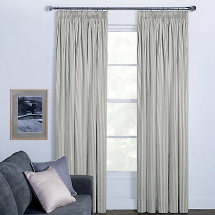Image for Woven Stripe Natural Pencil Pleat Curtains - 90 x 90in from StoreName