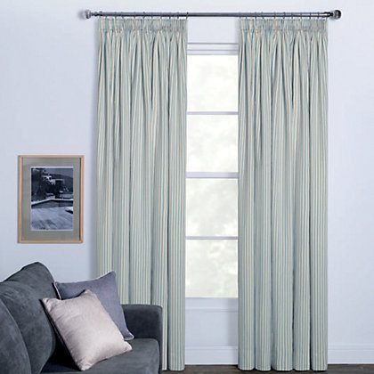 Image for Woven Stripe Duck Egg Pencil Pleat Curtains - 66 x 90in from StoreName