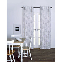 Blossom Blue Eyelet Curtains - 66 x 90in