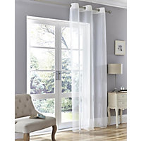Rio White Eyelet Voile Curtain - 57 x 90in
