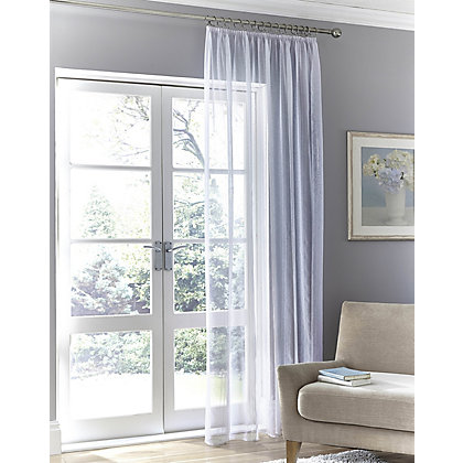 Image for Stripe Tape Top Voile Curtain - 57 x 72in from StoreName