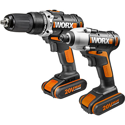 Image for Worx WX921 20V Lithium Ion Cordless Combo Kit - Hammer Drill and Impact Driver from StoreName