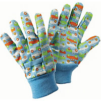 Briers Kids Cars Cotton Grip Gardening Gloves - Blue
