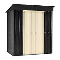 Lotus Slate Grey Metal Pent Shed - 6x4ft