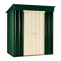 Lotus Heritage Green Metal Pent Shed - 6x4ft