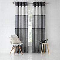 Banded Stripe Unlined Eyelet Curtains - 117x137cm - Grey.