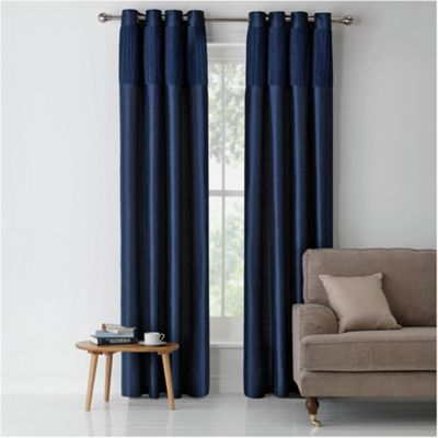 Blue Lined Curtains - Rooms