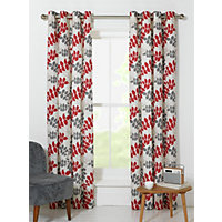 Amble Leaf Unlined Eyelet Curtains - 117x137cm - Red.