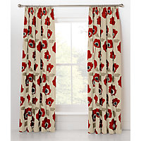 Elissia Poppy Pencil Pleat Curtains 117x137cm Red and Cream.