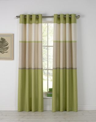 Banded Stripe Unlined Eyelet Curtains - 168x183cm - Green.