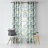 ColourMatch Geo Unlined Eyelet Curtains - 117x137cm.