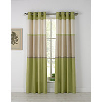 Banded Stripe Unlined Eyelet Curtains - 117x137cm - Green.