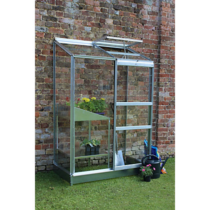Image for Eden Wall Garden 24 Aluminium Greenhouse with Horticultural Glass & Base - Silver from StoreName