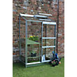 Eden Wall Garden 24 Aluminium Greenhouse with Toughened Glass & Base - Silver