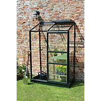 Eden Wall Garden 24 Aluminium Greenhouse with Horticultural Glass & Base - Green