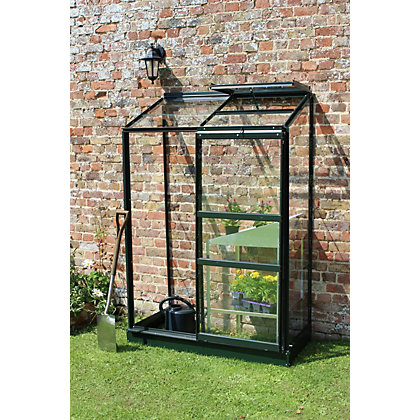 Image for Eden Wall Garden 24 Aluminium Greenhouse with Horticultural Glass & Base - Green from StoreName
