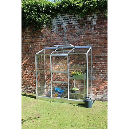 Image for Eden Wall Garden 26 Aluminium Greenhouse with Horticultural Glass & Base - Silver from StoreName