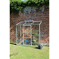 Eden Wall Garden 26 Aluminium Greenhouse with Toughened Glass & Base - Silver