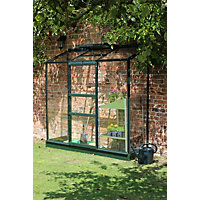 Eden Wall Garden 26 Aluminium Greenhouse with Horticultural Glass & Base - Green